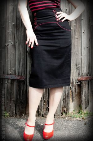Rumble59 Ladies – High Waisted Pencil Skirt – Red Line von Rockabilly Rules
