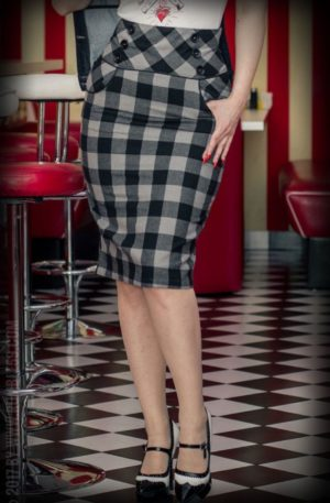 Rumble59 Ladies – High Waisted Pencil Skirt – kariert von Rockabilly Rules
