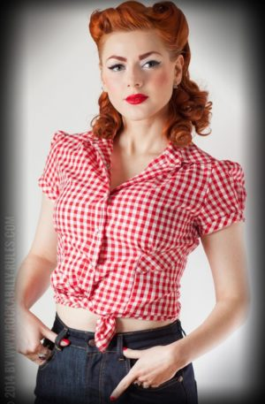 Rumble59 Ladies – Karo Bluse – Virginia Hell von Rockabilly Rules