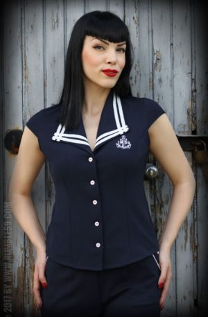 Rumble59 Ladies – Sailor Bluse von Rockabilly Rules