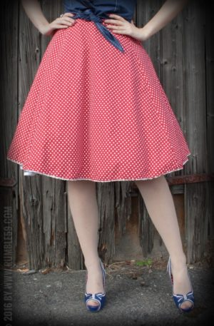 Rumble59 Ladies – Tellerrock – Sweet Polkadots – weinrot von Rockabilly Rules