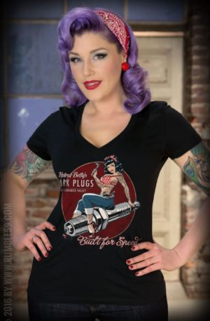 Rumble59 – Ladies V-Neck Shirt – Hotrod Betty's Spark Plugs von Rockabilly Rules