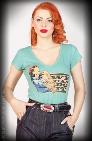 Rumble59 – Ladies V-Neck Shirt – We can do it! – lindgrün von Rockabilly Rules