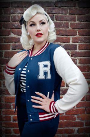 Rumble59 – Sweat College Jacke – dunkelblau von Rockabilly Rules