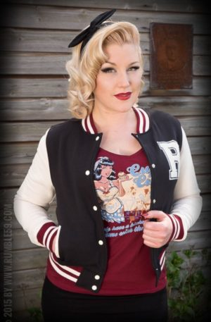 Rumble59 – Sweat College Jacke – schwarz von Rockabilly Rules