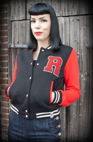 Rumble59 – Sweat College Jacke – schwarz/rot von Rockabilly Rules
