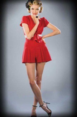 Stop Staring Set aus Bluse und Short, Polkadot rot schwarz von Rockabilly Rules