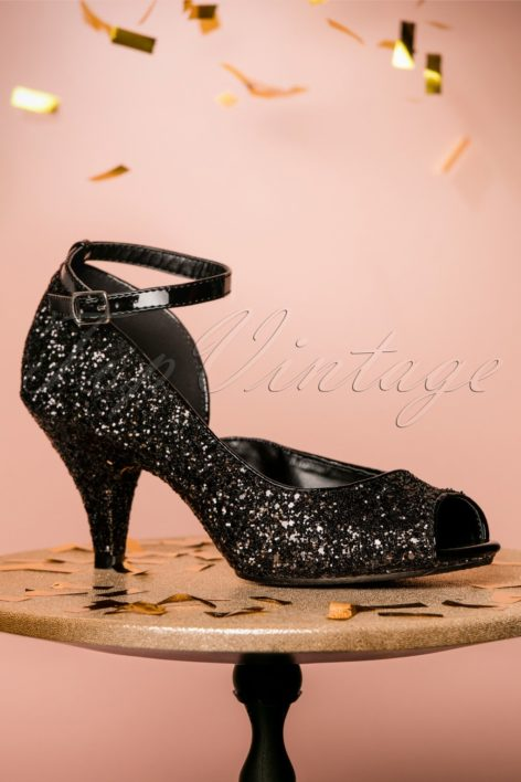20s Belle D'Orsay Peeptoe Glitter Pumps in Black