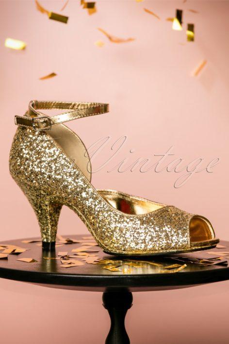 20s Belle D'Orsay Peeptoe Glitter Pumps in Gold
