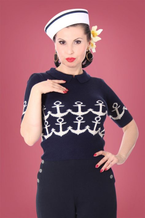 40s Gina Marine Jumper in Blue and Cream