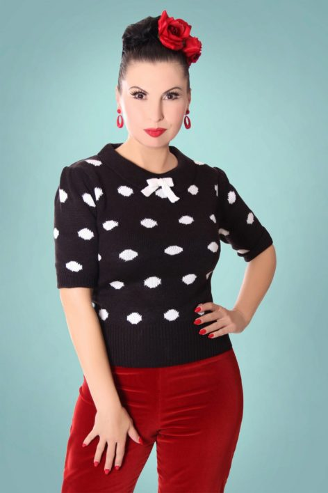40s Gina Polkadots Jumper in Black and White