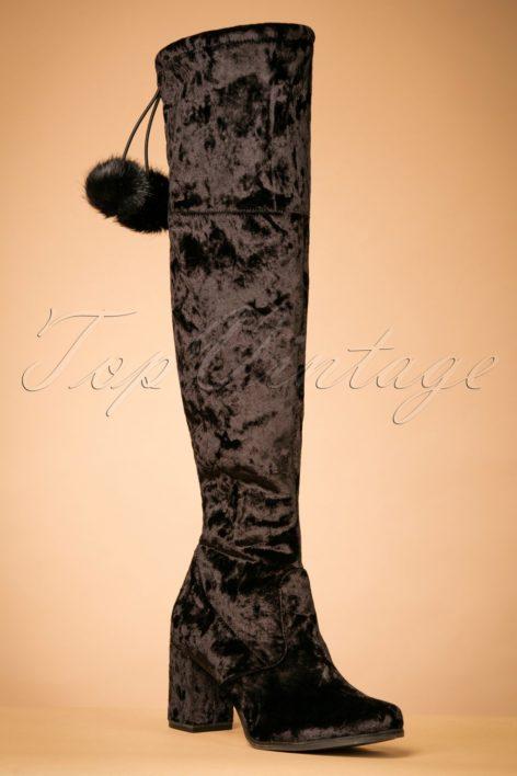 70s Veronica Knee Height Velvet Boots in Black