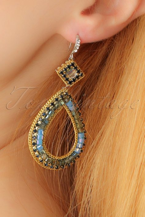 20s Clara Blue Beads Earrings in Gold