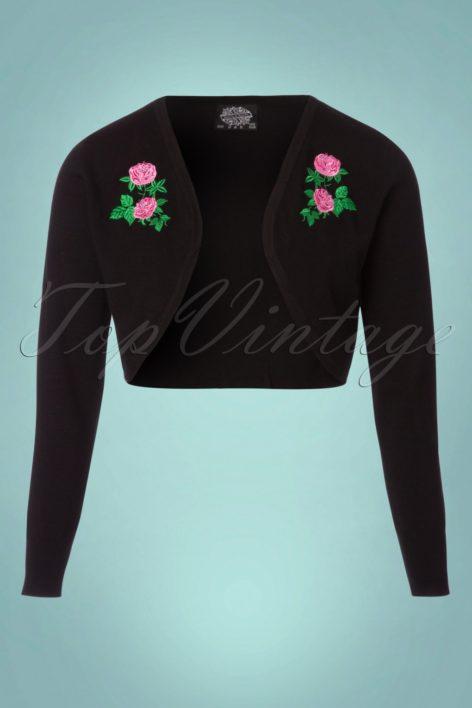 50s Centifolia Floral Bolero in Black