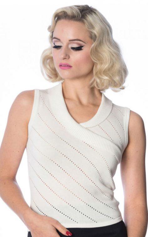 Banned - Strick Top It's a wrap Piontelle, offwhite von Rockabilly Rules