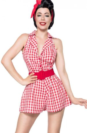 Belsira Retro Jumpsuit Vichy, rot weiß von Rockabilly Rules