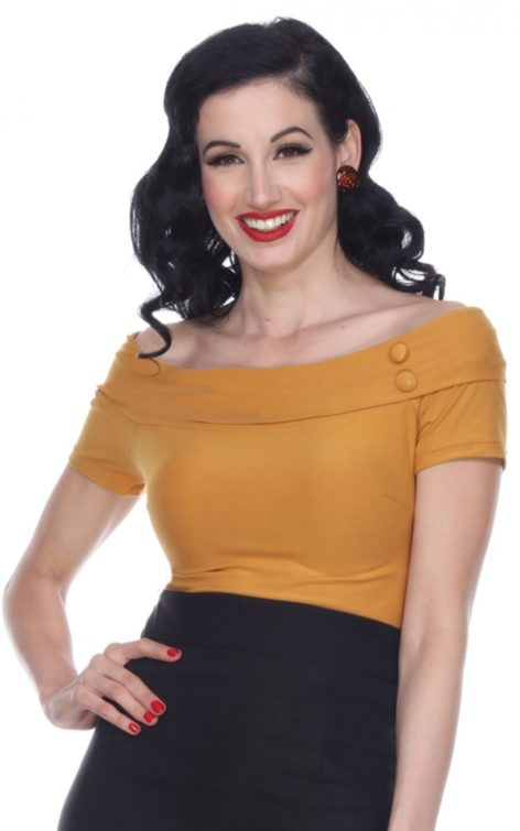 Bettie Page Clothing - Debby Top, senf von Rockabilly Rules