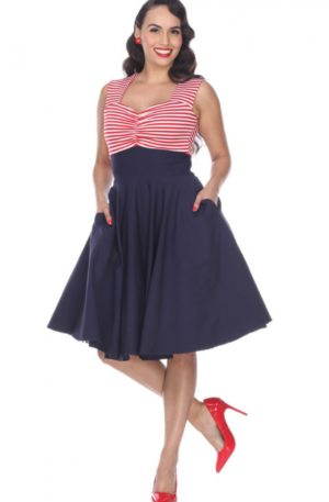 Bettie Page Clothing – Kleid Nautical Dress von Rockabilly Rules