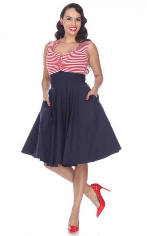 Bettie Page Clothing - Kleid Nautical Dress von Rockabilly Rules