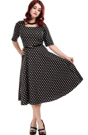 Collectif Amber Polka Dot Swing Dress von Rockabilly Rules