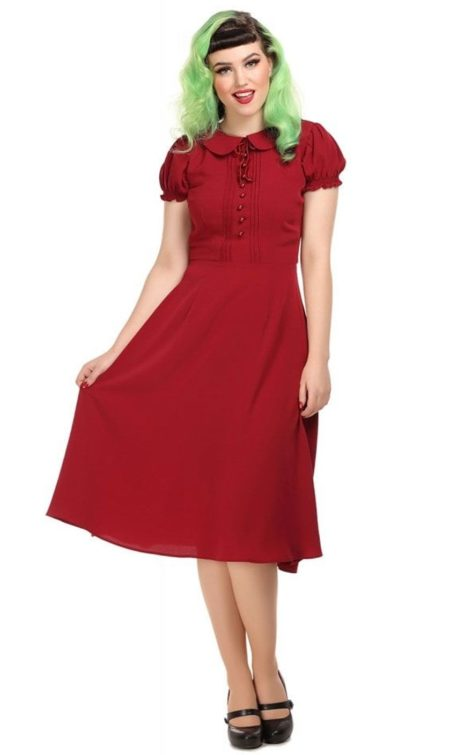 Collectif Giannina Swing Dress rot von Rockabilly Rules