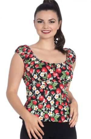 Hellbunny Top Strawberry Sundae Erdbeere von Rockabilly Rules