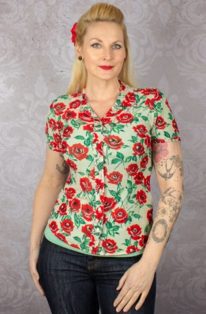 King Louie Bluse Rosie Blush von Rockabilly Rules