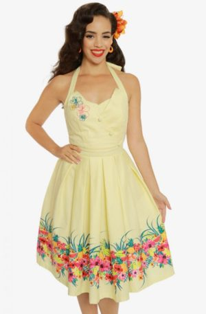 "Lindy Bop Neckholder Swing Kleid ""Tropical Myrtle"" von Rockabilly Rules"
