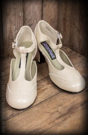 Pleaser Kitten Heels Wingtip T-Strap, beige von Rockabilly Rules