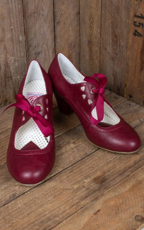 Pleaser Pin Up Couture Wiggle Cuban Heel Mary Jane, burgund von Rockabilly Rules