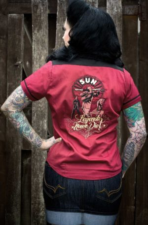 Rumble59 Ladies – Bluse SUN, Legends never die – bordeaux von Rockabilly Rules