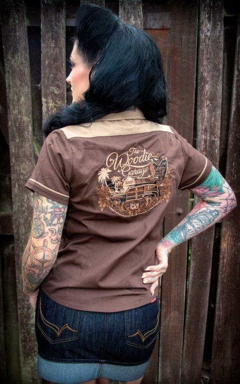 Rumble59 Ladies - Bluse The Woodie Garage - braun von Rockabilly Rules