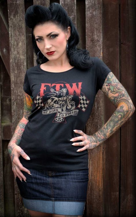 Rumble59 - Ladies Scoop Neck Shirt - Not born to follow von Rockabilly Rules