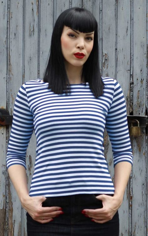 Rumble59 Ladies - Streifen-Shirt - Let's be Audrey! - blau von Rockabilly Rules