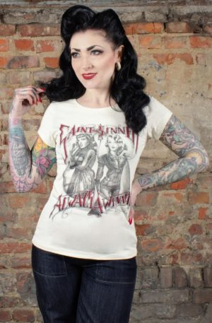 Rumble59 – Ladies T-Shirt – Saint or Sinner – offwhite von Rockabilly Rules