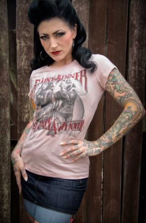 Rumble59 – Ladies T-Shirt – Saint or Sinner – rosa von Rockabilly Rules
