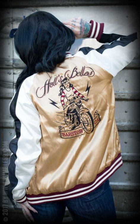 Rumble59 - Souvenir Jacket | 2-in-1 Satin Bomberjacke Hell's Belles von Rockabilly Rules