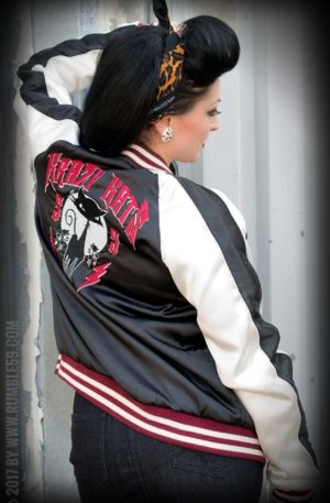 Rumble59 – Souvenir Jacket | 2-in-1 Satin Bomberjacke Krazy Katz von Rockabilly Rules