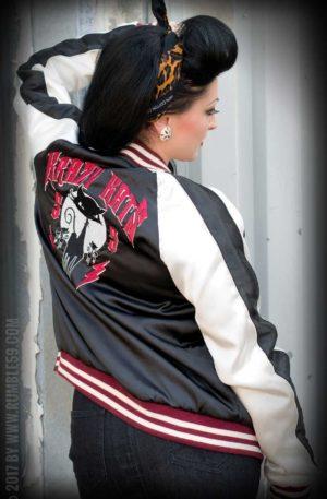 Rumble59 – Souvenir Jacket | 2-in-1 Satin Bomberjacke Krazy Katz von Rockabilly Rules