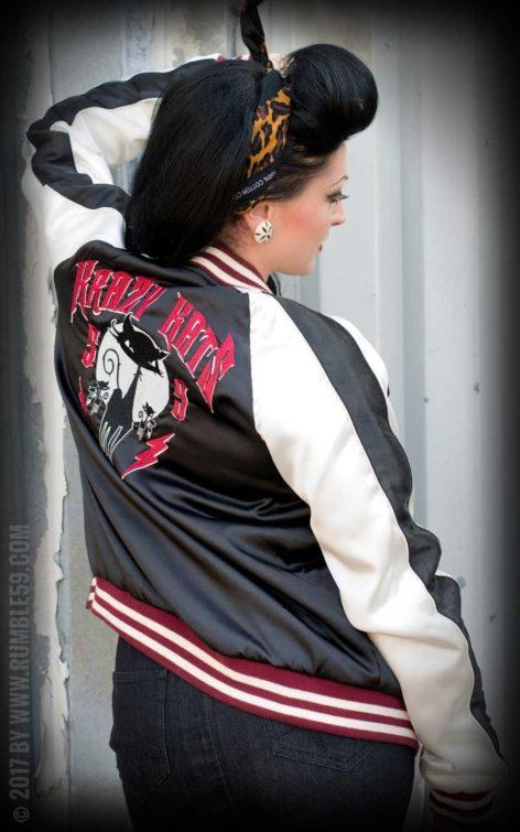 Rumble59 - Souvenir Jacket | 2-in-1 Satin Bomberjacke Krazy Katz von Rockabilly Rules