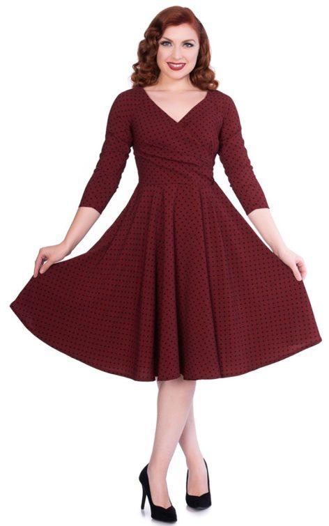 Sheen Clothing Swing Kleid Polkadot Katherine, burgund von Rockabilly Rules