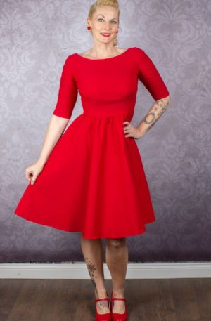 Stop Staring Kleid – Lady in Red von Rockabilly Rules