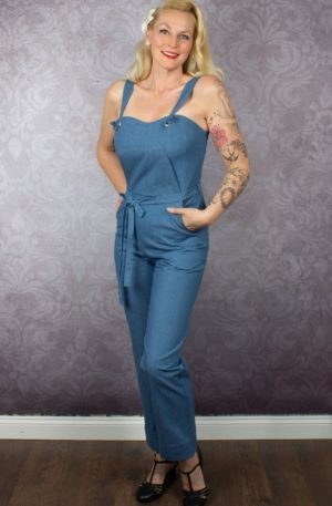 Very Cherry – Classic Sommer Jumpsuit Soft Denim von Rockabilly Rules
