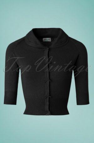 40s April Bow Cardigan in Black