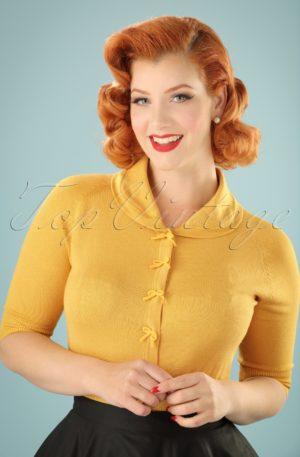40s April Bow Cardigan in Mustard Yellow