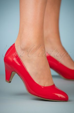 40s Beverly Patent Pumps in Red