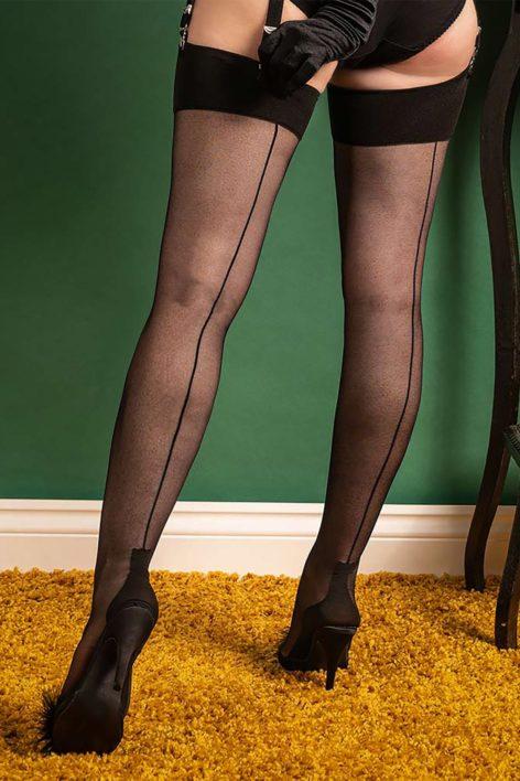 40s Cuban Heel Stockings in Black
