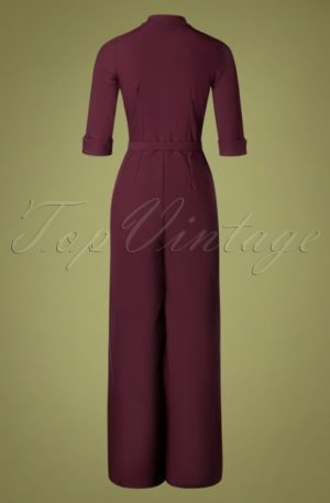 40s Francine Jumpsuit in Burgundy