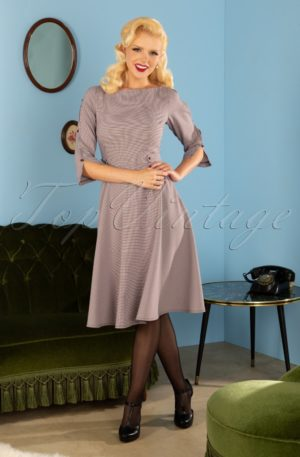 40s Gabrielle Swing Dress in Houndstooth