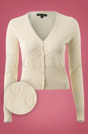 40s Heart Ajour Cardigan in Cream